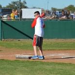 gray shorts boy hitting